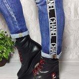 Кожаные зимние ботинки на шнурке