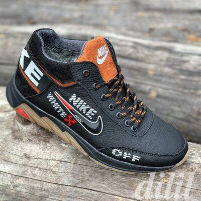 Кроссовки мужские зимние кожаные с натуральным мехом черные Nike