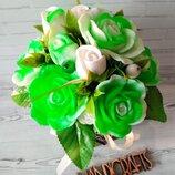 Букет цветов из мыла в шляпной коробке Цветочная композиция из роз