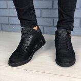 Код 9400 Мужские ботинки на меху Сезон зима Размеры 40 - 45 Цвет черный Материал натуральный ну
