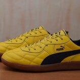 Кожаные мужские желтые кроссовки, футзалки Puma Esito, 40.5 размер. Оригинал