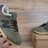 Зимние кроссовки New Balance 574 темно зеленый