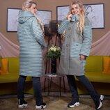 Женское стильное пальто на синтепоне в больших размерах 471 Шерсть Плащёвка Стёганка Капюшон в рас