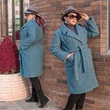 Женское тёплое пальто на синтепоне в больших размерах 3282 Букле Запах Пояс в расцветках
