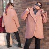 Женское тёплое пальто на синтепоне в больших размерах 3283 Букле Овер в расцветках