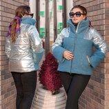 Тёплая женская куртка на синтепоне в больших размерах 3281 Букле Плащёвка Серебро в расцветках