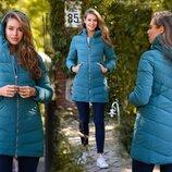 Женская зимняя куртка холлофайбер до больших размеров 1981 Стёжка Ёлочка Капюшон в расцветках
