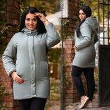 Женская куртка демисезон в больших размерах 0503 Канада Капюшон Стойка Кнопки