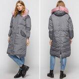 Женская однотонная зимняя парка пальто прямого силуэта
