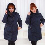 Зимнее женское пальто холлофайбер в батальных размерах 001 Капюшон Воротник Вязка