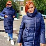 Женское зимнее пальто в батальных размерах 98 Плащёвка Холлофайбер Капюшон в расцветках