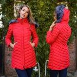Женская тёплая куртка холлофайбер до больших размеров 01 Стёжка Ёлочка Капюшон Мех в расцветках