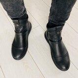 Мужские зимние сапоги из натуральной кожа угги кожаные ботинки дизерты челси