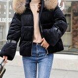 Удобная бархатная куртка утеплённая синтепоном,