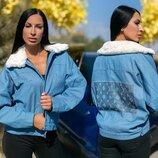 Стильная женская куртка на синтепоне до больших размеров 898 Джинс Стразы Воротник Мех в расцветка
