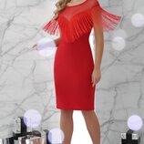 Красное платье с бахромой