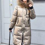 Стеганная объемная куртка с капюшоном