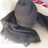 комплект шапка шарф флис спортивный стиль размер универсальный