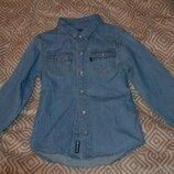 Джинсовая рубашка мальчику Cherokee на 8 лет рост 128 в идеале