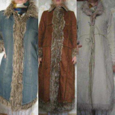 Пальто джинс р. 48, дубленка искуств. р. 48-50 коричневая и молочная