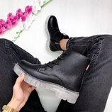 Распродажа Крутая Новинка Натуральные кожаные ботинки на актуальной кристальной подошве