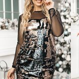 Платье пайетки на трикотаже 48,50,52,54