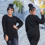Вязаный свитер джемпер со шнуровкой, Турция. Большие размеры 48-54. Батал. Серый, белый, беж, черный