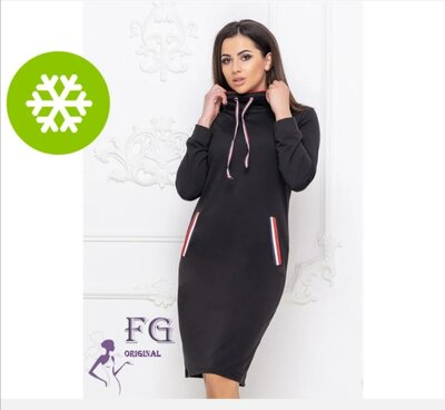 Теплое платье в спортивном стиле Respect | Трехнитка| Норма
