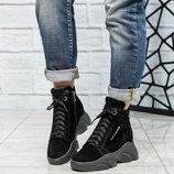 Код 6345 Зимние спортивные ботинки Натуральная замша Внутри шерсть Высота подошвы 4.5/2 см Скрытая т
