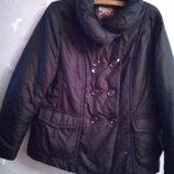 Куртка женская большого размера еврозима темно коричневого цвета на молнии и пуговицах