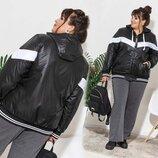 Женская куртка на синтепоне в батальных размерах 909-2 Плащёвка Капюшон Полоса Контраст в расцветк