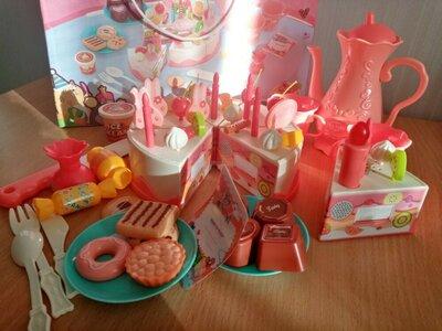 Игрушечный музыкальный торт с набором продуктов, свет и звук