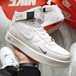 Бесплатная доставка. Топ качество. Зима. Кроссовки Nike Air Force 1 07 Mid LV8 белый мех KS 1304