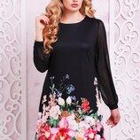 Черное платье большого размера с цветами