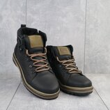 Зимние ботинки CAT черные, натур.кожа