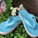Кроксы Crocs Bayaband Flip вьетнамки мятно голубые, женские крокс оригинал