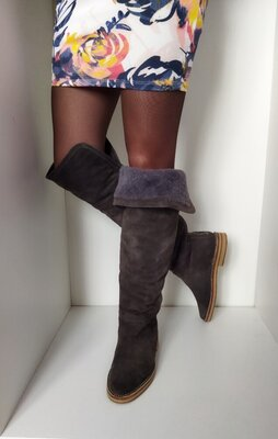 Зимние сапоги высокие ботфорты натуральная замша. зимові високі чоботи. фирменые оригинал