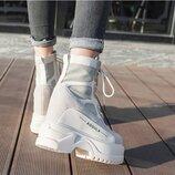 Женские осенние ботинки на высокой платформе на толстой подошве. Водонепроницаемые.