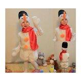 Новогодний костюм Снеговик для мальчики и для девочки на 3-7 лет, 104-122