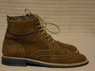 Стильные замшевые ботинки - оксфорды - броги цвета хаки Original Penguin Сша 42 р.