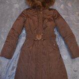 Теплый пуховик 44 размера, цвет баклажан