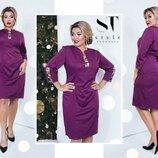 Платье Длина платья-103см, длина рукава-45см Материал креп костюмка 810 Цвета красный, пудра, дипло
