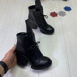 Зимние ботинки, натуральная кожа и замш, внутри набивная шерсть, 35-40