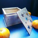 Подарочная коробка из дерева серебро , коробка для подарков деревянная серебряная