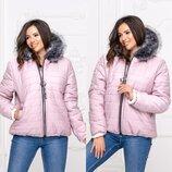 Куртка женская зимняя батал короткая с капюшоном овчина плащевка черный красный пудра