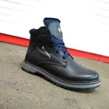 Кожаные синие зимние ботинки детские, подростковые 35-39