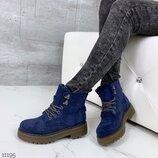 Женские зимние красные синие ботинки на шнуровке на низком ходу