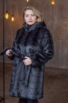 Женская шуба из искусственного меха под норку с капюшоном с 50 по 56 размер мх 233