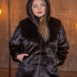 Женская короткая шуба из искусственного меха под норку с капюшоном с 50 по 56 размер мх 238