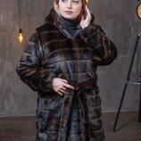 Женская шуба из искусственного меха под норку с капюшоном 90 см с 50 по 56 размер мх 240